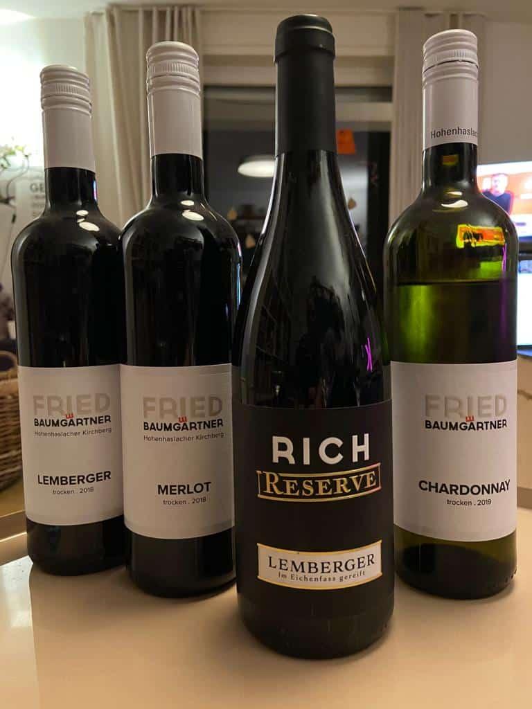 Die Probeweine vom Weingut Fried Baumgärtner